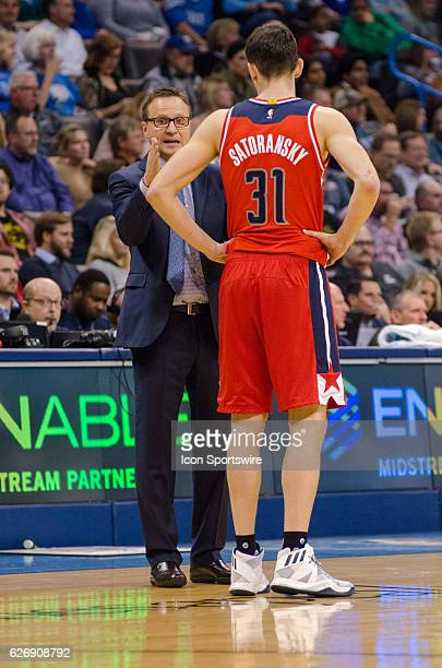 Washington Wizards coach Scott Brooks talking to Washington Wizards Guard Tomas Satoransky versus Oklahoma City Thunder on November 30 at the...