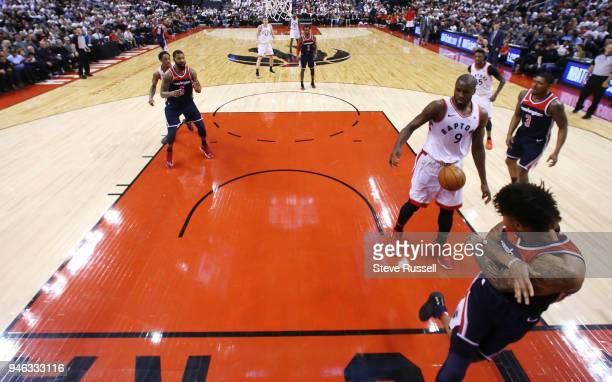 TORONTO ON APRIL 14 Washington Wizards forward Kelly Oubre Jr throws a ball in a sensitive area on Toronto Raptors forward Serge Ibaka as the Toronto...