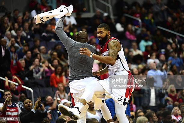 Washington Wizards forward Markieff Morris celebrates late in the game with Washington Wizards guard Marcus Thornton in the second half December 18...