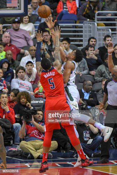 Washington Wizards forward Markieff Morris fouls Milwaukee Bucks forward Giannis Antetokounmpo on January 15 2018 at the Capital One Arena in...
