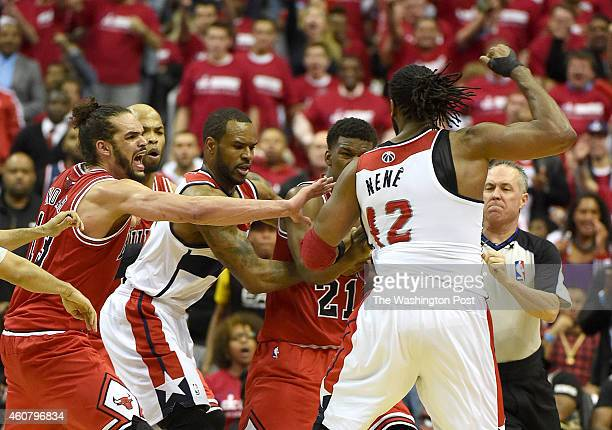 Washington Wizards forward Nene Hilario receives a double technical foul and game ejection for his confrontation with Chicago Bulls guard Jimmy...