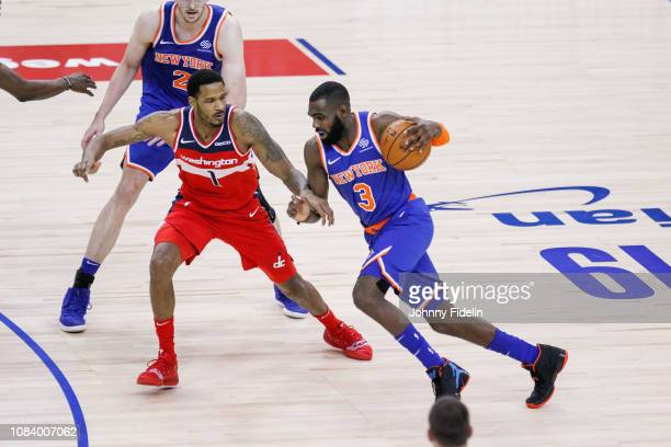 Washington Wizards Forward Trevor Ariza and New York Knicks Guard Tim Hardaway Jr during the NBA game against Washington Wizards and New York Knicks...
