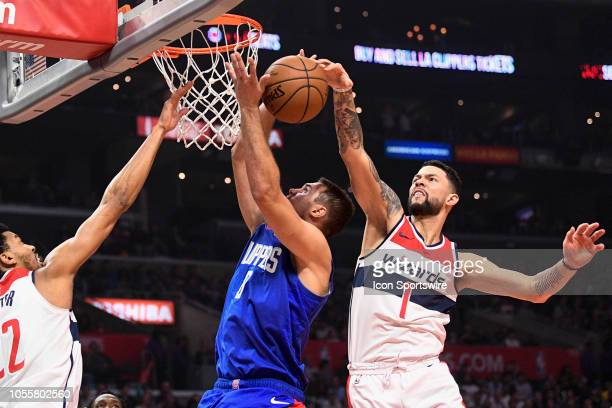 Washington Wizards Guard Austin Rivers blocks Los Angeles Clippers Forward Danilo Gallinari shot during a NBA game between the Washington Wizards and...