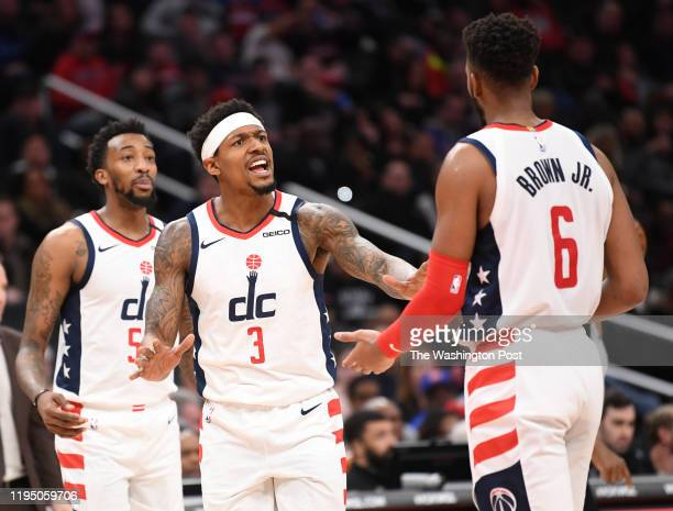 WASHINGTON DC JANUARY 20 Washington Wizards guard Bradley Beal calms down Troy Brown Jr during action against the Detroit Pistons at Capital One Arena