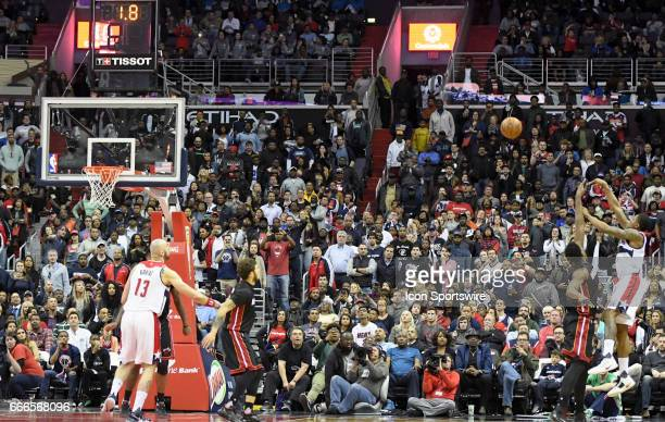 Washington Wizards guard Bradley Beal misses a game wining shot attempt in the second half against the Miami Heat on April 8 at the Verizon Center in...