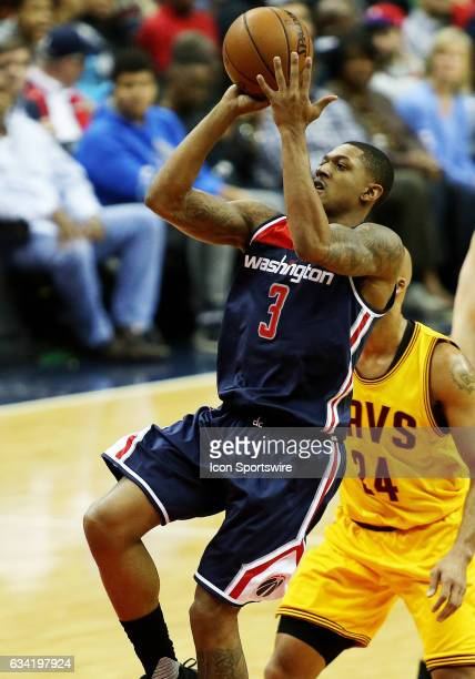 Washington Wizards guard Bradley Beal takes a shot over Cleveland Cavaliers forward Richard Jefferson during a match between the Cleveland Cavaliers...