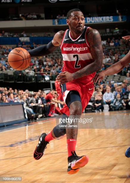 Washington Wizards guard John Wall drives to the basket during the game against the Dallas Mavericks on October 6 2018 at the American Airlines...
