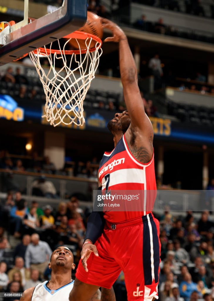 Washington Wizards Guard John Wall 2 Gets An Easy Dunk Against The Denver Nuggets