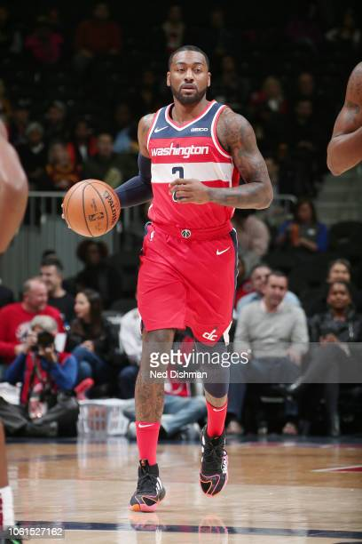 Washington Wizards guard John Wall handles the ball during the game against the Cleveland Cavaliers on November 14 2018 at Capital One Arena in...