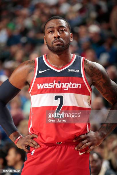 Washington Wizards guard John Wall looks on during the game against the Dallas Mavericks on October 6 2018 at the American Airlines Center in Dallas...