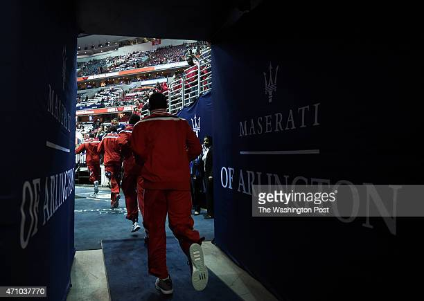 Washington Wizards guard John Wall runs out of the tunnel for game three action against the Toronto Raptors on April 24 2015 in Washington DC