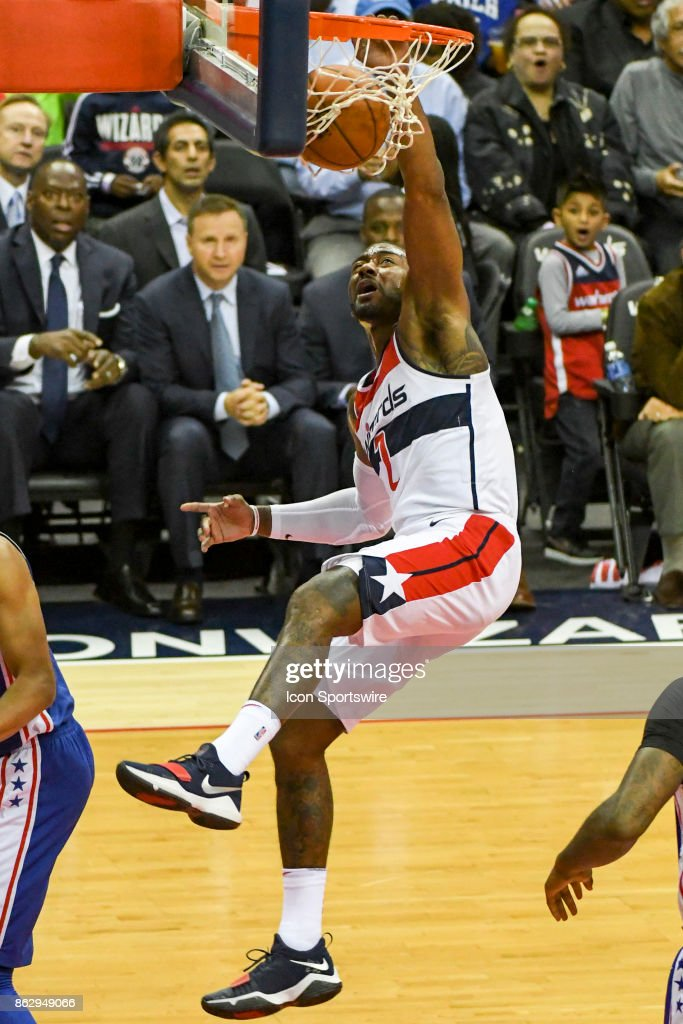 Washington Wizards Guard John Wall 2 Scores On A Dunk In The First Half