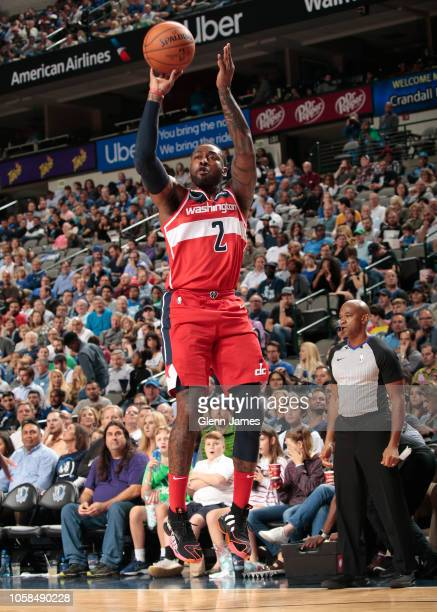 Washington Wizards guard John Wall shoots the ball during the game against the Dallas Mavericks on October 6 2018 at the American Airlines Center in...