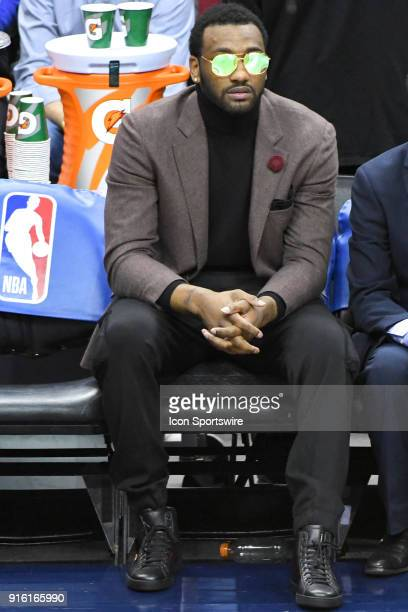 Washington Wizards guard John Wall sits on the bench on February 8 2018 at the Capital One Arena in Washington DC