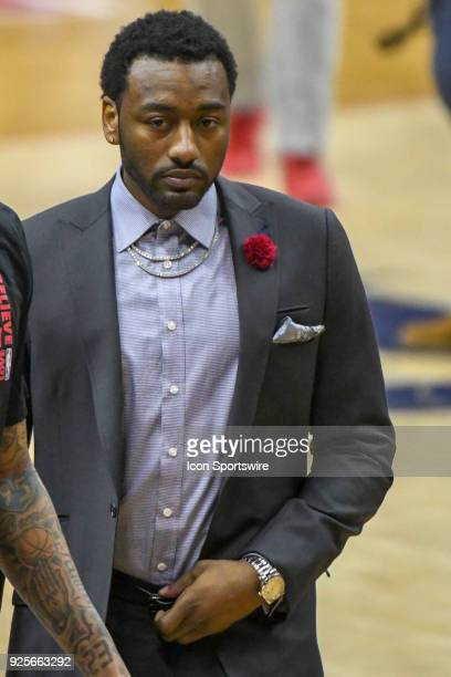 Washington Wizards guard John Wall stands on the sidelines on February 28 2018 at the Capital One Arena in Washington DC The Golden State Warriors...