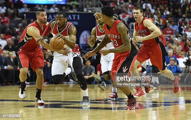 Washington Wizards guard John Wall starts the fast break on a Toronto turnover during game four action on April 26 2015 in Washington DC