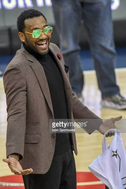 Washington Wizards guard John Wall walks on the court to get his NBA All Star jersey on February 8 2018 at the Capital One Arena in Washington DC The...