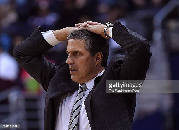 Washington Wizards head coach Randy Wittman reacts to a foul call during the second half of the game between the Washington Wizards and the Miami...