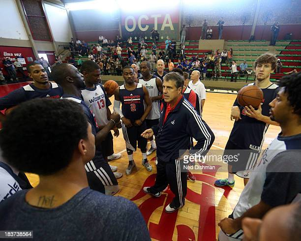 Washington Wizards head coach Randy Wittman talks to the team during practice as part of 2013 Global Games on October 9 2013 at Flamengo Club in Rio...