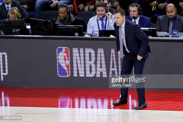Washington Wizards head coach Scott Brooks during the NBA game against Washington Wizards and New York Knicks at The O2 Arena on January 17 2019 in...
