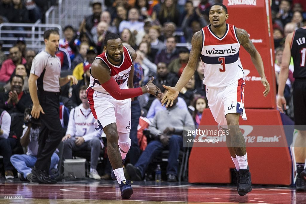 Washington Wizards' John Wall (2) and Bradley Beal (3) celebrate against the Portland Trail Blazers at the Verizon Center in Washington, USA on January 16, 2017. The Wizards defeated the Blazers 120-101.