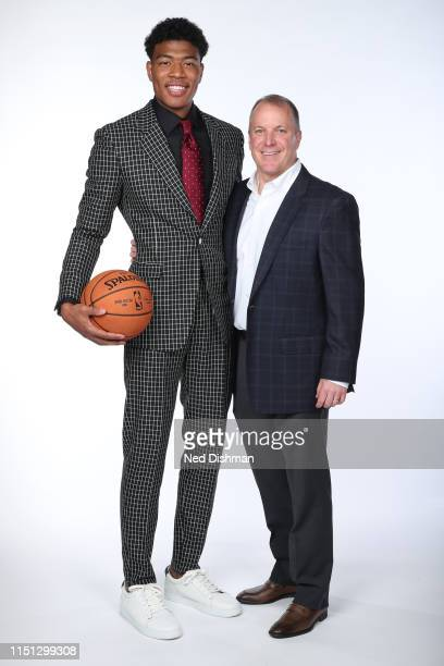 Washington Wizards NBA Draft Pick Rui Hachimura poses for a portrait with Washington Wizards President of Basketball Operations Tommy Sheppard at...