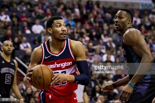 Washington Wizards Otto Porter Jr tries to pass the ball past Charlotte Hornets Dwight Howard at the Capitol One Arena in Washington United States on...