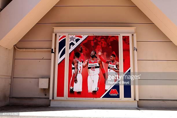Washington Wizards painting sits outside the Verizon Center home of the Washington Wizards basketball team Washington Capitals hockey team and...
