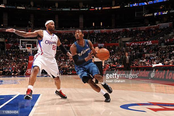 Washington Wizards point guard John Wall brings the ball up court during the game against the Los Angeles Clippers at Staples Center on March 23 2011...