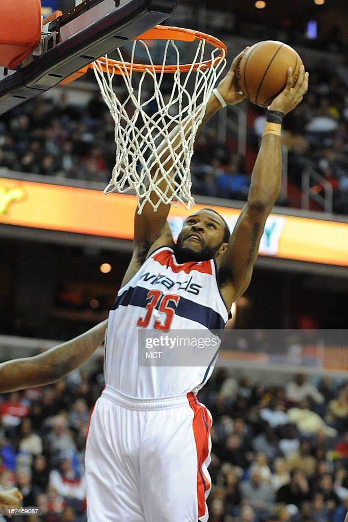 Washington Wizards power forward Trevor Booker (35) goes for a dunk during first-half action against the Houston Rockets at the Verizon Center in Washington, D.C., Saturday, February 23, 2013.