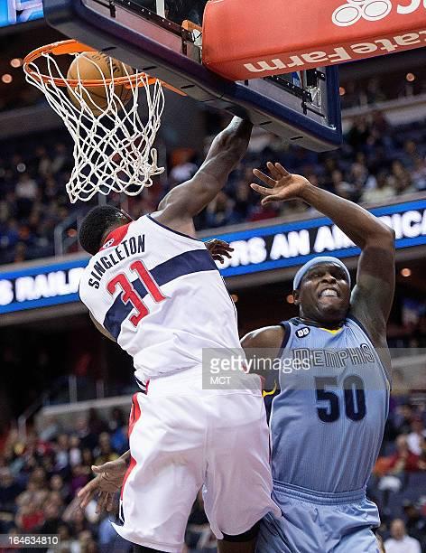Washington Wizards small forward Chris Singleton blocks the shot of Memphis Grizzlies power forward Zach Randolph during the first half of their game...