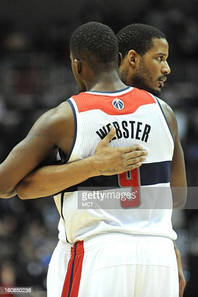 Washington Wizards small forward Trevor Ariza and Washington Wizards small forward Martell Webster celebrate a win aftersecondhalf action against the...