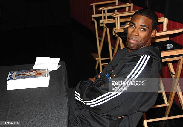 Washington Wizards star Antawn Jamison signs autographs at the screening of the movie A Perfect Holiday at Regal Gallery Place December 4 2007 in...