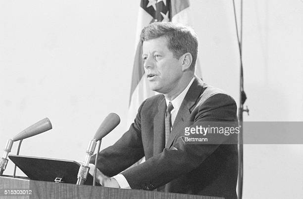 Washington,DC- : President Kennedy in a nationwide report to the nation from the White House today, said the US has firm evidence Soviet missile...