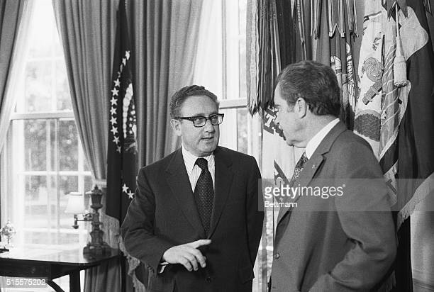 WashingtonPresident Nixon and Henry A Kissinger pose for cameras in the oval office after Secy of State Kissinger won the Nobel Peace Prize for Paris...