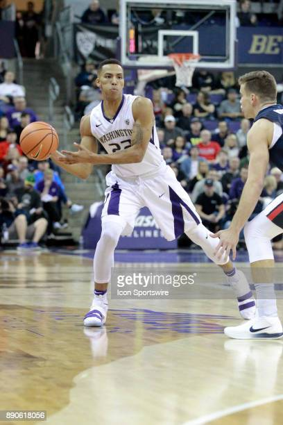 Washington's Dominic Green looks for an open teammate to pass the ball to against Gonzaga Gonzaga won 9770 over Washington on December 10 2017 at...
