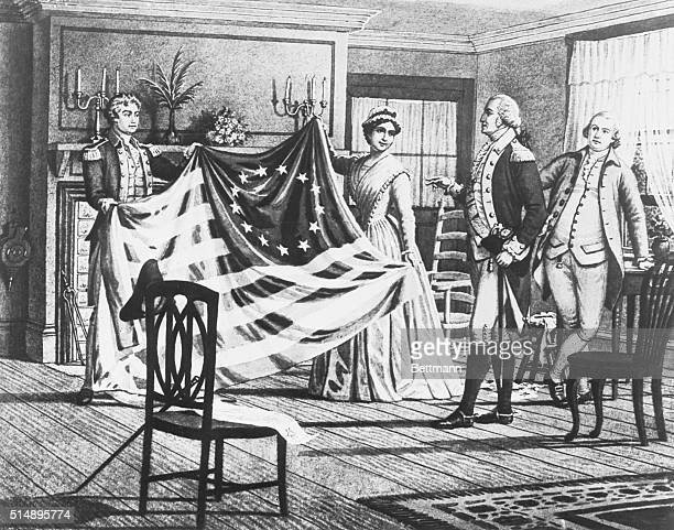 Washington's first American Flag made by Betsy Ross