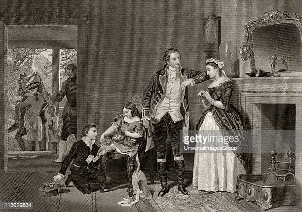 Washingtons first interview with Mrs Custis George Washington 1732 to 1799 Martha Dandridge Custis Washington 1731 to 1802 After Alonzo Chappel from...