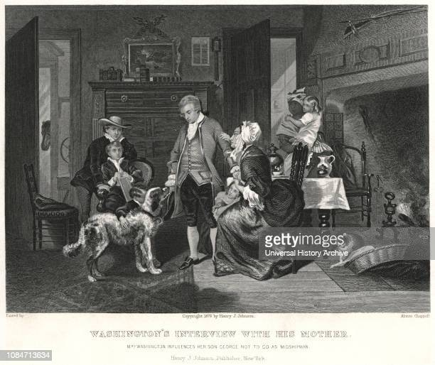 Washingtons Interview with his Mother Mrs Washington influences her son George not to go as Midshipman Engraving after original Alonzo Chappel...