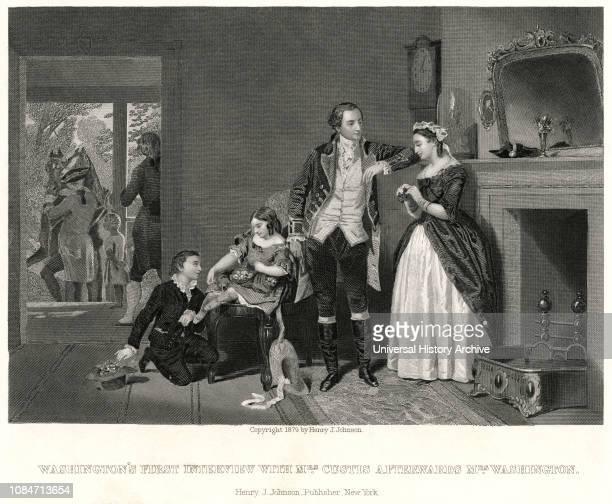 Washingtons Interview with Mrs Custis Afterwards Mrs Washington Engraving 1879