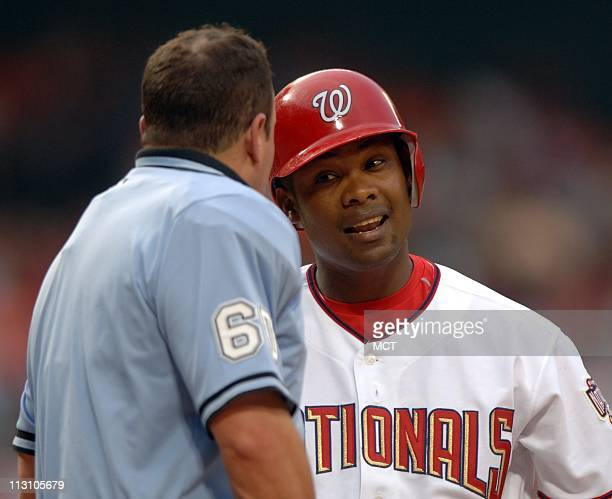 WASHINGTON DC Washington's Jose Guillen argues a thirdstrike call with home plate umpire Jim Joyce against Houston in the first inning on Thursday...