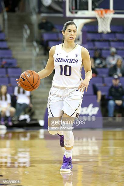 Washington's Kelsey Plum brings the ball down court during an NCAA women's basketball game between the Savannah State Tigers and the Washington...