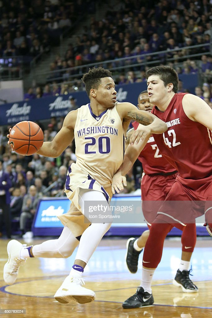 Washington's #20 Markelle Fultz drives to the basket against Washington State. Washington State won 79-74 over Washington at Alaska Airlines Arena in Seattle, WA.