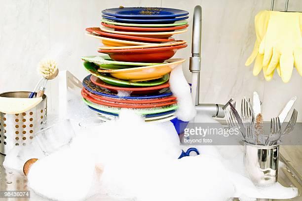 washing-up in kitchen sink