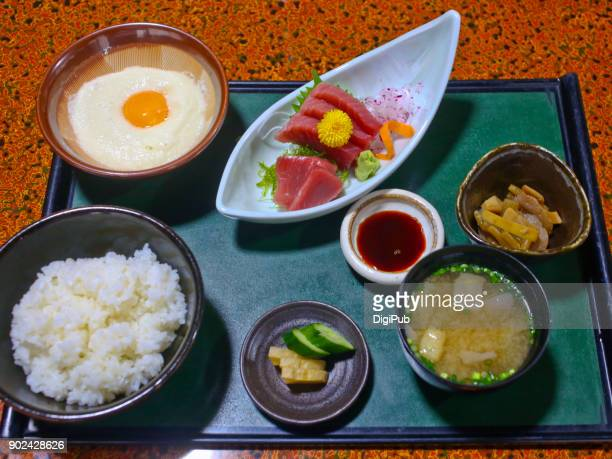 washoku lunch meal - takuan stock photos and pictures