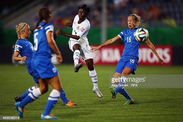 Wasila DiwuraSoale of Ghana takes a shot against Ria Oling of Finland during the FIFA U20 Women's World Cup Canada 2014 group A match between Ghana...