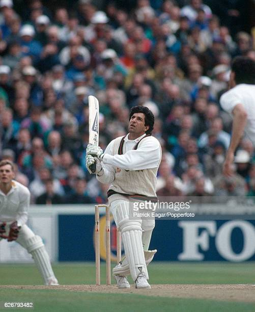 Wasim Akram batting for Lancashire during the Benson and Hedges Cup Semi Final between Lancashire and Yorkshire at Old Trafford, Manchester, 12th...