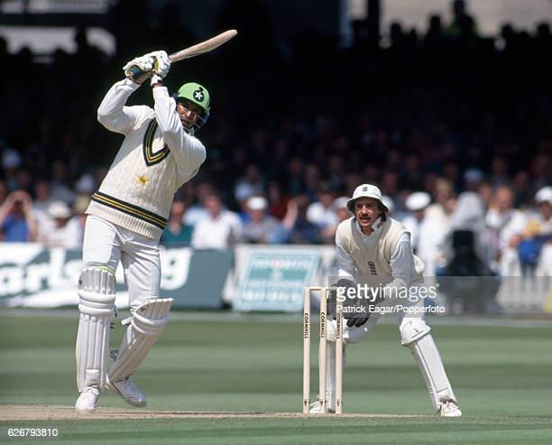 Wasim Akram batting for Pakistan during the 2nd Test match between England and Pakistan at Lord's Cricket Ground London 21st June 1992 The...