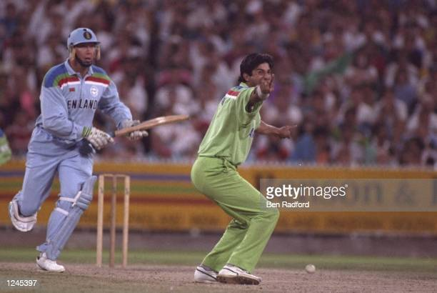 Wasim Akram of Pakistan appeals for the wicket of Derek Pringle of England during the final of the Cricket World Cup in Melbourne