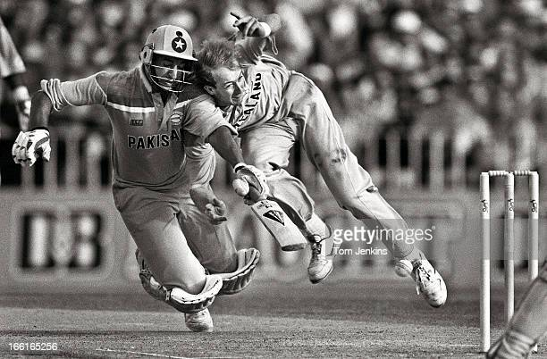 Wasim Akram of Pakistan collides with Wasim Akram of New Zealand during the 1992 Cricket World Cup semifinal match New Zealand versus Pakistan at the...